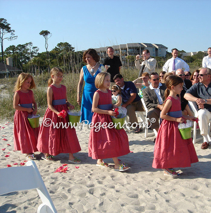 Lipstick pink and hydrangea blue beach wedding