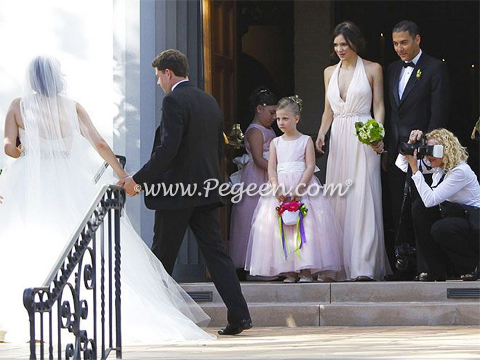 Peony Pink and Bisque tulle flower girl dress for Katherine McPhee's sisters wedding