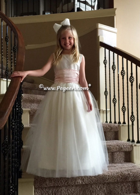 Flower Girl Dresses in ivory and baby pink with tulle