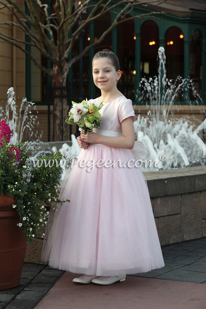 ee3950f6d31 Flower Girl dress in Antique White and Peony Pink Tulle and Silk by Pegeen  ...