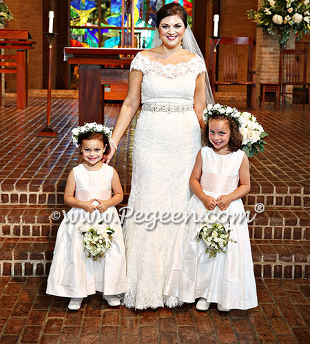 Monogrammed Petal Pink and New Ivory silk flower girl dress with matching ringbearer suit
