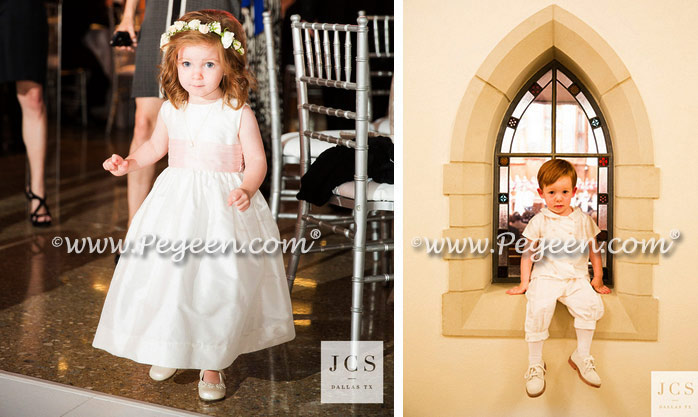Toddler Flower Girl Dress with monogramming in ivory and pink silk