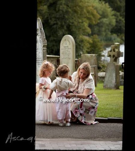 December 2014 Wedding of the Month with Style 356 flower girl dress and matching Ring Bearer Style 509 in Bisque and Peony Pink silk