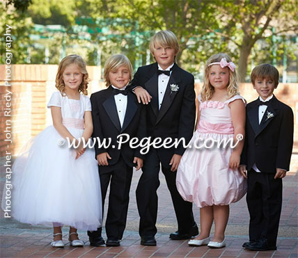 Boys style 235 and flower girl dress style 600, Isabella flower girl dresses from The Regal Collection, in Summer Tan