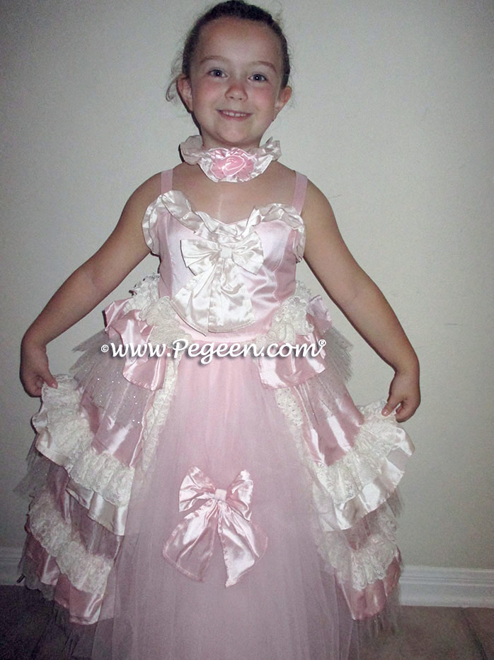 d42930918df ... Pink and Bisque Ruffled Layers and Glitter Tulle Nutcracker Dress or Flower  Girl Dress Style 405
