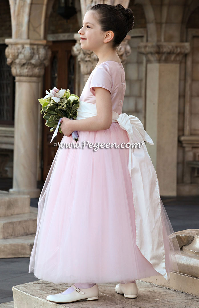 5d8202be4f7 Custom Flower girl dresses Style 402 in Peony Pink Tulle and Silk ...