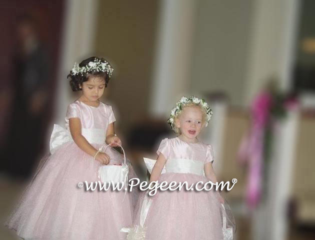 81396685f96 Above - Custom Flower girl dresses Style 402 in Peony Pink Tulle and Silk  ...