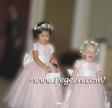 Above - Custom Flower girl dresses Style 402 in Peony Pink Tulle and Silk