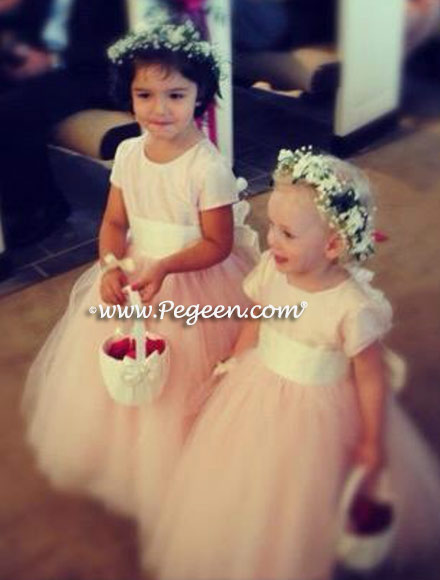 Custom Flower girl dresses Style 402 in Peony Pink Tulle and Silk