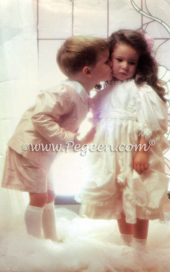 Matching silk flower girl dress with boy's ring beaerer suit from Pegeen Classics with English Laces