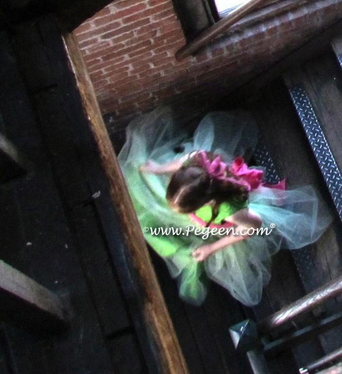 Shock Pink, Royal Purple and Key Lime Green Flower girl dresses