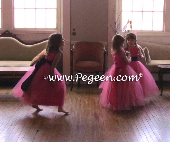Royal Purple And Shock Pink Sash Custom Flower Girl Dresses Style 356