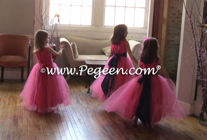 Royal Purple and Shock Pink Silk Flower Girl Dresses Style 356