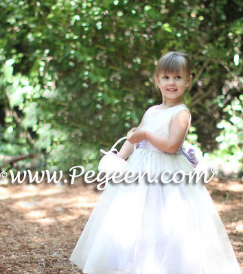 Lilac and new ivory tulle silk flower girl dresses - Pegeen Classic Style 356