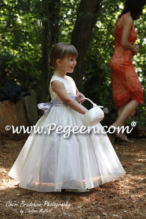 Custom Flower Girl Dresses Style 356 in Bisque and Lilac with tulle overskirt