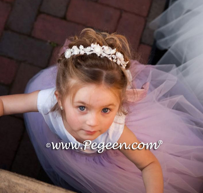 Light Plum Tulle and Bisque Silk Flower Girl Dress- Pegeen Couture Style 402 with layers and layers of tulle