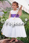 Custom Flower Girl Dresses Style 402 in Antique White with Pearls and Amethyst Silk