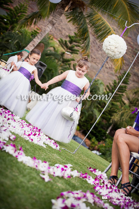 Antique White with Pearls and Amethyst Silk flower girl dresses