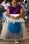 Featured Custom Royal Purple and Peacock Flowe Girl Dress of the Month