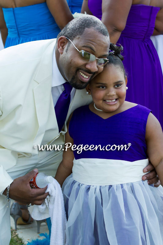 Flower Girl Dresses Style 301 in Royal Purple and Antique White silk