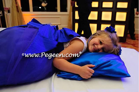 Flower girl dresses 402 ivory and sapphire blue tulle and silk