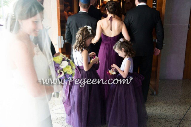 Lavender and 1000 Nights (Purple) Tulle Custom Silk Flower Girl Dress Style 402 | Pegeen Couture