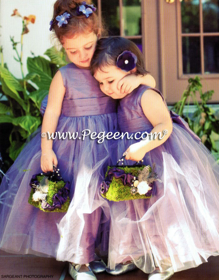 Matching Bill Levkoff Eurolilac TULLE CUSTOM FLOWER GIRL DRESSES BY PEGEEN