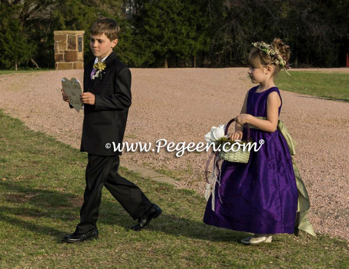 Sage and Wildberry Purple Custom Silk Flower Girl Dress Style 345