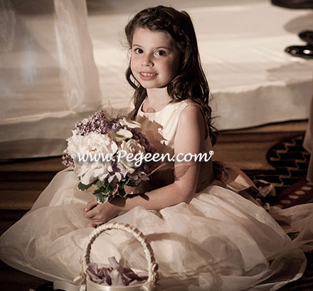 Flower girl dresses in New Ivory with Euro Lilac - Pegeen Classic Style 394