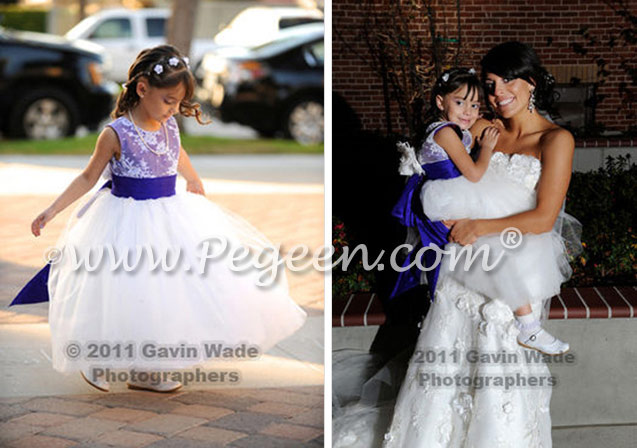 Purple silk. tulle and aloncon lace flower girl dresses