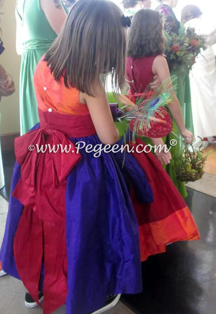 Flower Girl Dresses in purple, green, red and orange