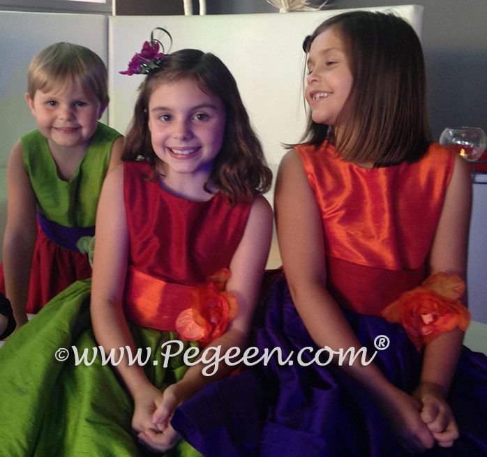 Green, purple, pink and orange flower girl dress