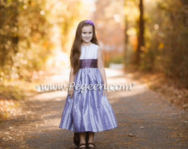 Lilac and Iris Custom Silk Flower Girl Dress Style 398 | Pegeen.com