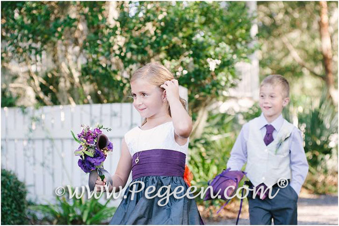 Flower Girl Dress New Ivory, Pewter Gray and Eggplant Silk Pintuck Trellis Style 357 and Boy's Vest in Platinum with Eggplant Boy's Tie