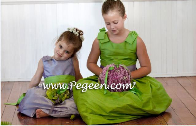 Wisteria and Apple Green flower girl dresses