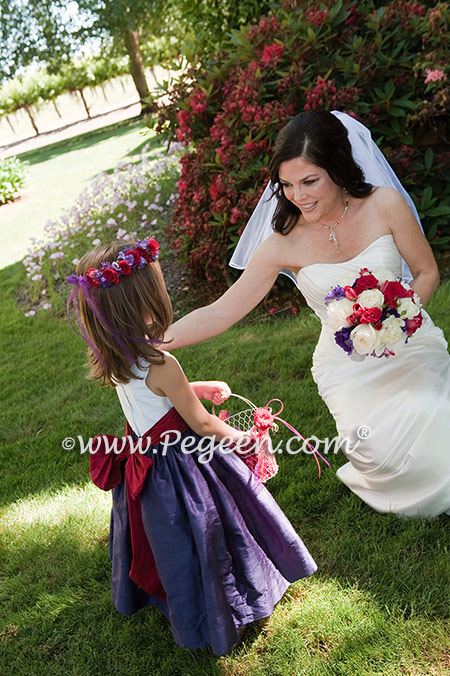 Flower girl dresses 388 in grape, beauty and antique white silk