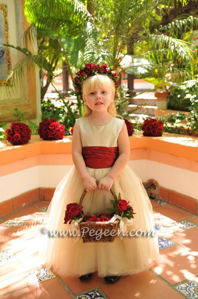 Creme and Red silk and tulle custom couture flower girl dress