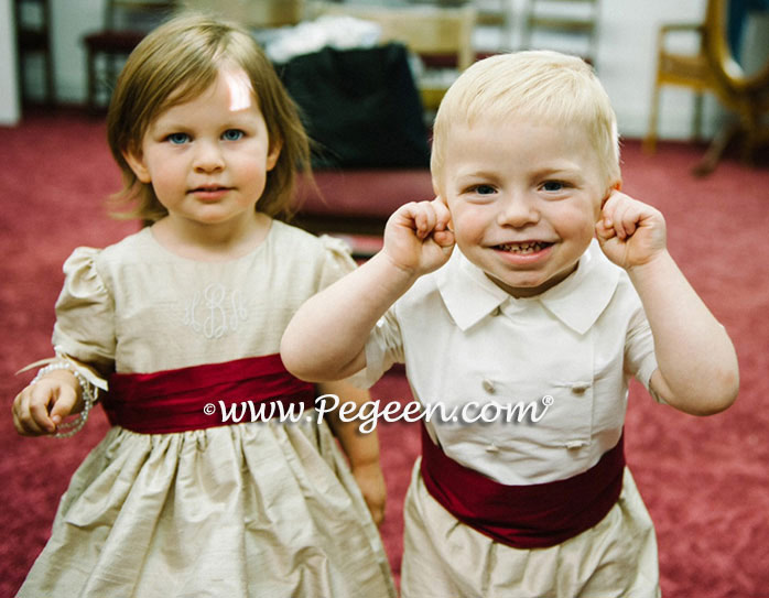 Toffee (creme) with Claret Red sash and monogram with matching ringbearer suit