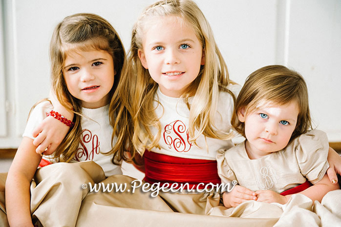 Monogrammed Red and Toffee Creme flower girl dresses Style 345