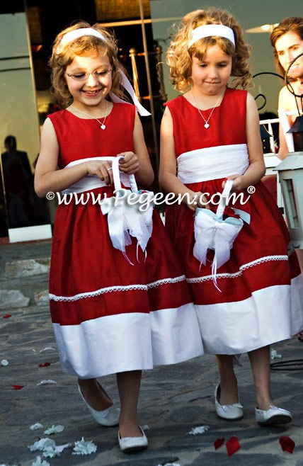 Flower Girl Dress in Christmas Red and Antique White Silk with pearl trim on skirt