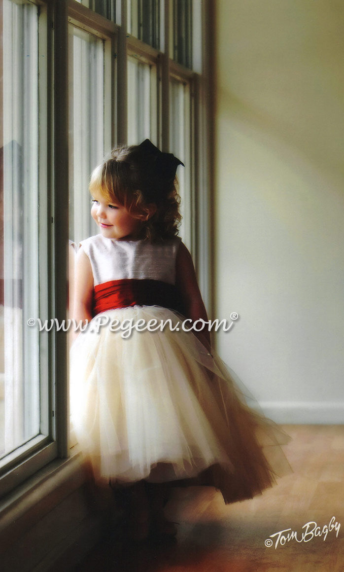 Custom couture silk and tulle flower girl dress