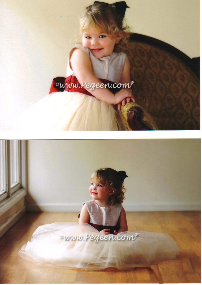 Couture Flower Girl Dresses - inspired by Degas The Ballet Lesson in champagne and red by Pegeen