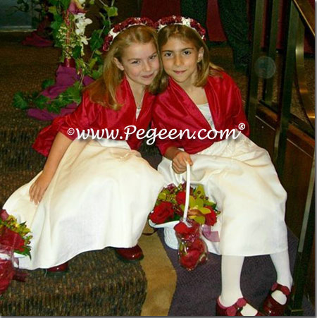 Christmas Red and White Silk Flower girl dresses with bolero jacket | Pegeen