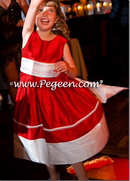 red silk flower girl dresses
