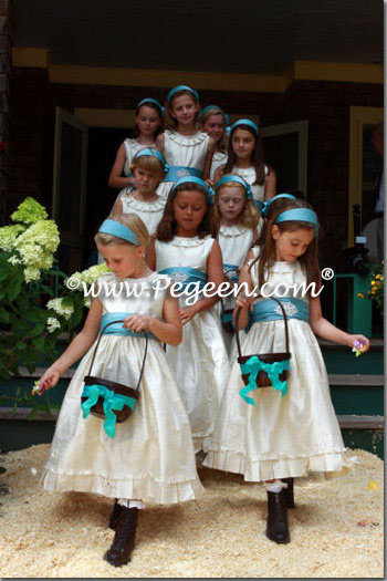 OATMEAL AND ADRIATIC TEAL COUTURE STYLE FLOWER GIRL DRESSES