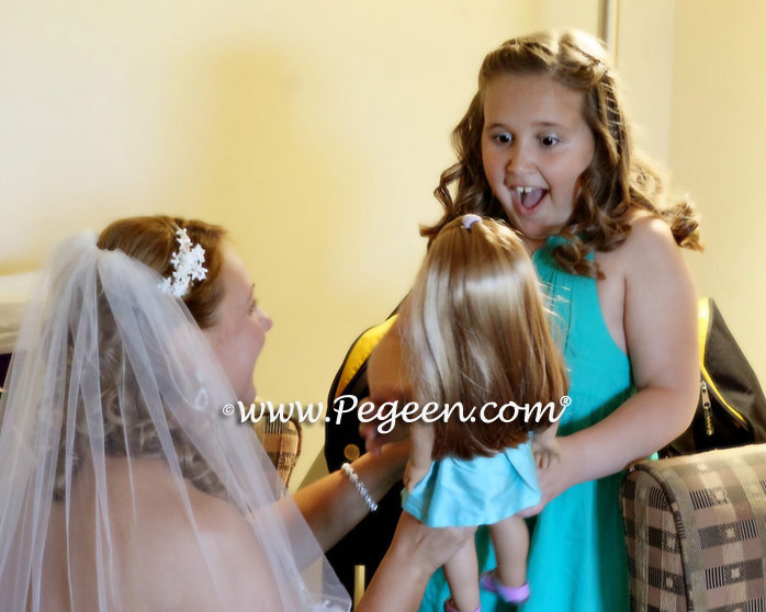 Bahama Breeze (Tiffany Blue), Deep Sea (Turquoise) and Gold Pin Tuck Pearl Silk Flower girl dresses with American Doll Dress