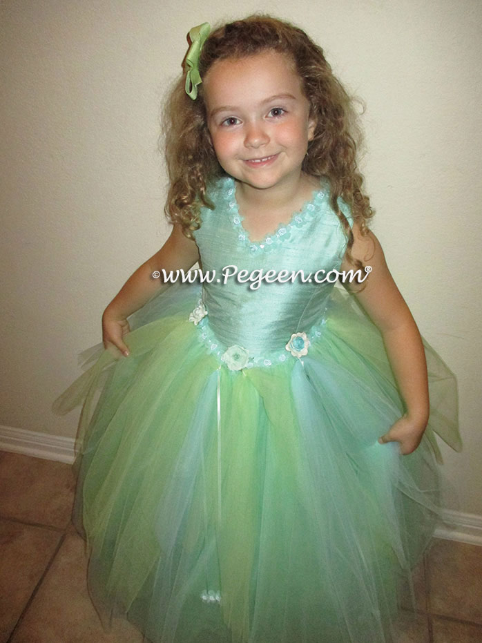 Aqualine, mint and tiffany blue Nutcracker Dress or Flower Girl Dress Style 402 by Pegeen Couture