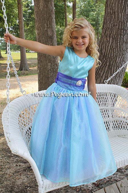 Flower girl dresses - the The Princess Grace from The Regal Collection from Pegeen. Style 691 in various color combinations. Customer chose Aqua and Lavender