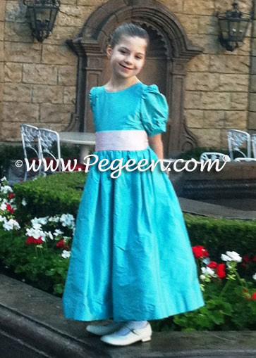 Dress above in tiffany blue with petal pink sash and puff sleeves 345 by Pegeen