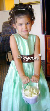 Chocolate brown and tiffany blue silk flower girl dresses Pegeen Classic Style 345